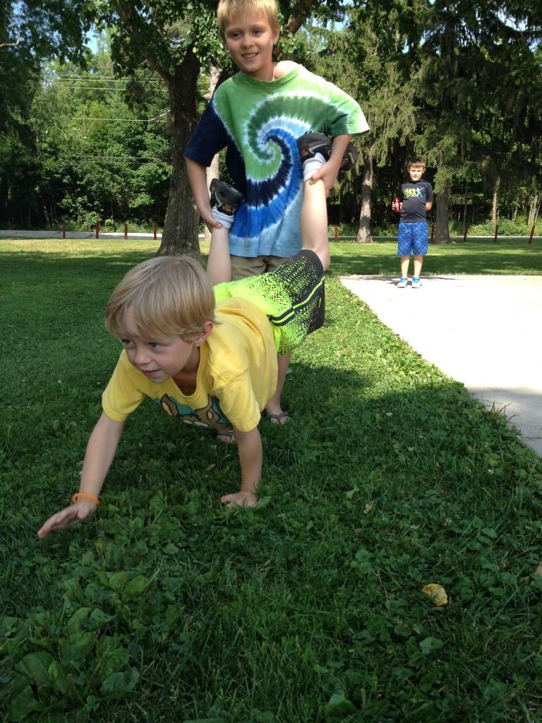 Koen uses his wheelbarrow Dylan